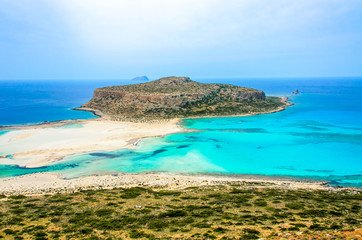 Paradise beach balos at beautiful bay and coast - View over Balos Lagoon, island on Crete, Greece