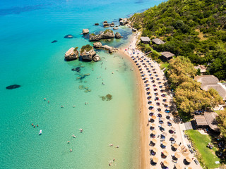 Aerial  view of Porto Zorro  Azzurro beach in Zakynthos (Zante) island, in Greece