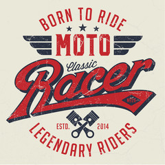 Classic Moto Racer - Tee Design For Print