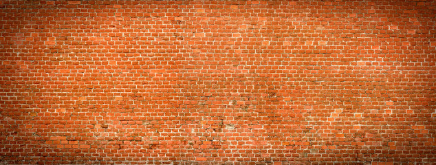 Old Brick wall panoramic view.