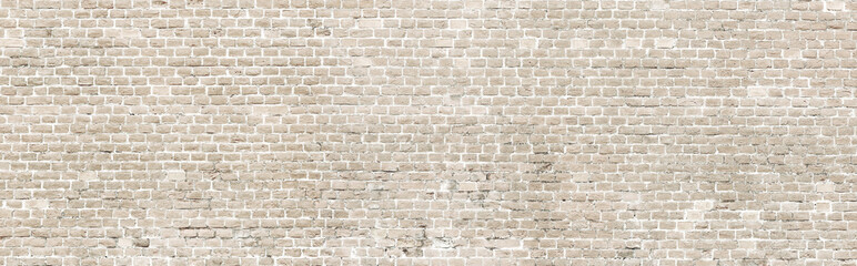 White wash old brick wall panorama.