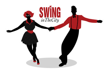 Funny couple dancing swing, rock or lindy hop
