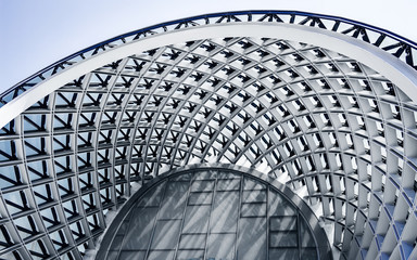 Building structures of modern urban architecture close-up.