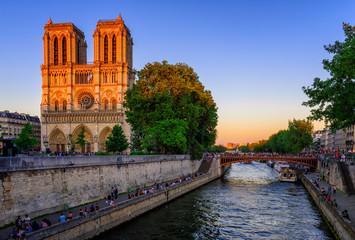 Sunset view of Cathedral Notre Dame de Paris in Paris, France