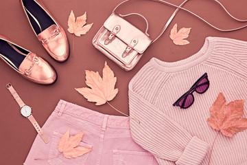 Autumn Arrives. Fashion Lady Clothes Set. Trendy Cozy Knit Jumper. Fashion Stylish Gold Handbag Clutch, Glamour Shoes, Sunglasses. Fall Leaves. Vanilla Pastel colors.