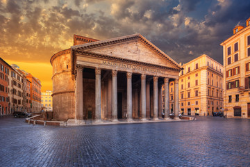 view of Pantheon in the morning. Rome. Italy.