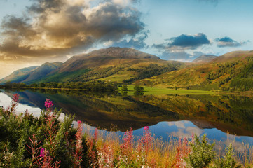 epic scenic loch in the scottish highlands. beautiful landscape from scotland with mountains, flowers and a loch with water reflections