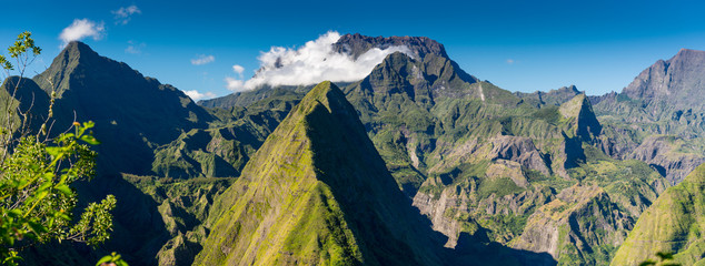 Panorama of Cirque de Mafate on the Island La Reunion