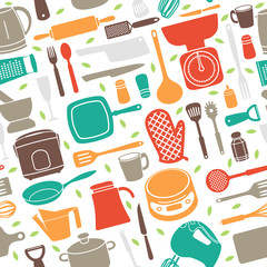Seamless Pattern of Kitchen Utensil in Retro Style