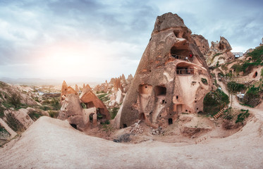 Fantastic sunrise over the Red Valley in Cappadocia, Anatolia, Turkey. Volcanic mountains