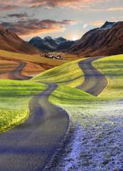 verschlungene Wege - Vier Jahreszeiten Landschaft mit Schweizer Bergwelt