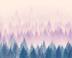 Forest in the fog. Minimalistic illustration. Digital drawing.