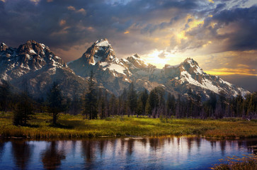 Grand Tetons and reflection