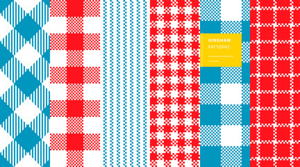 Gingham plaid classic colors seamless pattern set