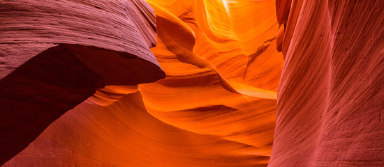 Beautiful abstract red sandstone formations in the Antelope Canyon, Arizona