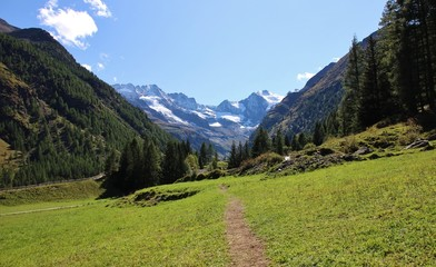 Path in Valnontey valley. Gran Paradiso National Park. Aosta valley, Italy