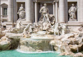 Detail from Trevi fountain in Rome, Italy