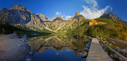 Panorama of Zelene pleso lake valley in Tatra Mountains, Slovakia, Europe