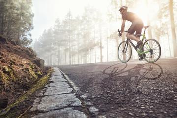 Rowerzysta na drodze w mglisty las