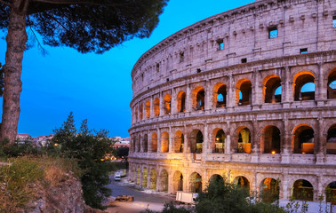 The legendary Coliseum at night , Rome, Italy