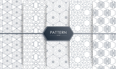 Vector Seamless geometric gray and blue Pattern set wit Rounded Lines, polygon, Abstract Background