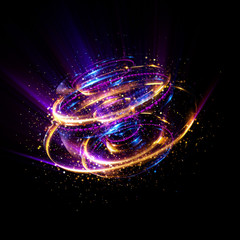 Abstract background. luminous swirl. Elegant glowing circle. Bright spiral. Glow ribbon. Empty space. .Sparkling particle. Space tunnel. Glossy orbit. Colorful ellipse. Glint galaxy. Oval stage.