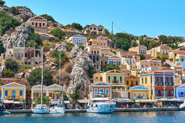 Symi island houses. Multi color houses of the Symi island
