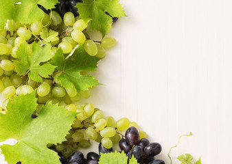 grapes on white wooden table
