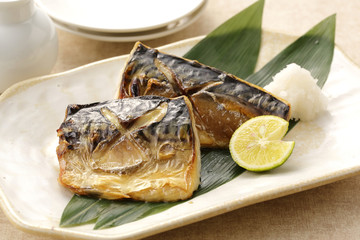 鯖の塩焼き Grilled mackerel with salt