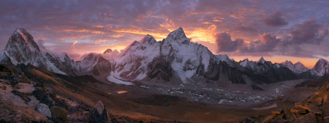 Mount Everest Range at sunrise