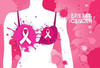 Breast Cancer Awareness Month Pink Ribbon Symbol Flat Vector Illustration