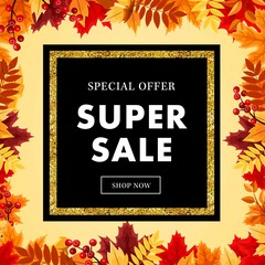 Autumn super sale banner with maple autumn leaves, gold element and outline. Vector fall poster ,label, flyer and shopping vol 13