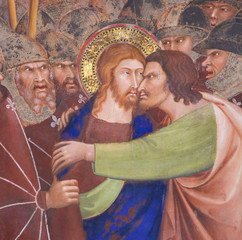Fresco in San Gimignano - Kiss of Judas