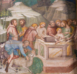 Fresco in San Gimignano - Jesus thrown in the well