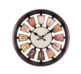 wooden wall clock on white background