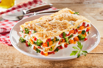 Large portion of healthy vegetable lasagne