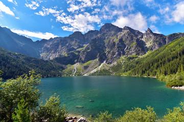Poland Tatra National Park High Tatras Mt Morskie Oko Lake in summer