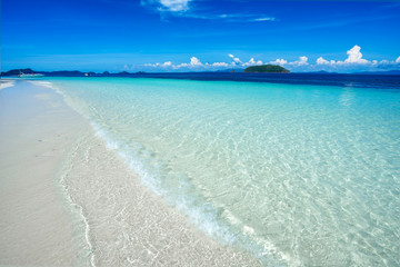 white sand beach with clear water blue sky,seascape vacation
