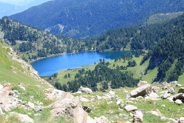 Pyrenean lake in Ariege. Occitanie in South of France