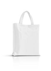 blank white fabric canvas bag isolated on white background