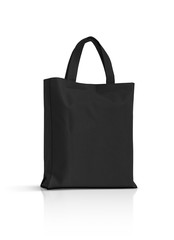 blank black fabric canvas bag isolated on white background