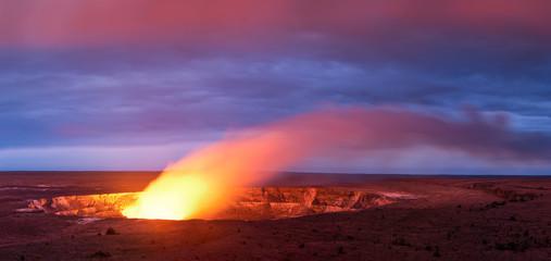 Kilauea volcano crater as it eats at sunset in Hawaii volcano national park, Big Island, Hawaii, USA
