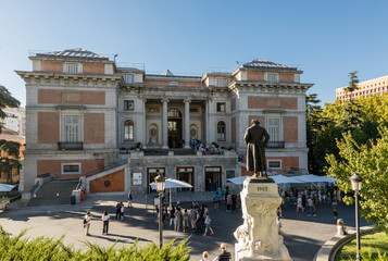 Entrance to the Prado Museum in Madrid, with the statue of Philip II in the foreground