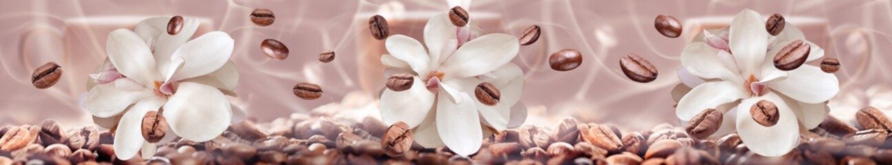 coffee beans on the floral background