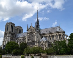 Right side view of Cathedral Notre-Dame de Paris, in the fourth arrondissement of Paris, France