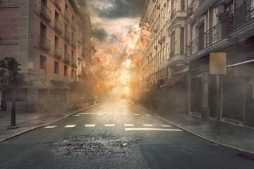 Widok miasta zniszczenia z pożarami i wybuchem