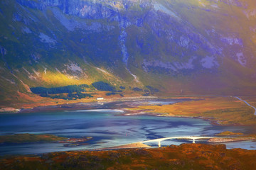 Lofoten islands in evening sunlight
