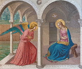 LONDON, GREAT BRITAIN - SEPTEMBER 17, 2017: The mosaic of The Annunciation after Fra Angelico in church St. Barnabas by Bodley and Garner (end of 19. cent.).