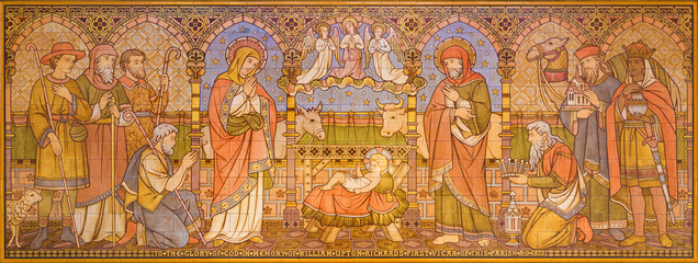 LONDON, GREAT BRITAIN - SEPTEMBER 15, 2017: The tiled mosaic of Adoration of Magi in church All Saints by Matthew Digby Wyatt (1820 - 1877).