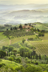 beautiful morning in Tuscany valley in Italy